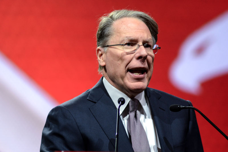 "NRA Vice President Wayne LaPierre addresses the ""stand and fight"" rally crowd at Lucas Oil Stadium in Indianapolis. Photo by Jacob Byk/News21."